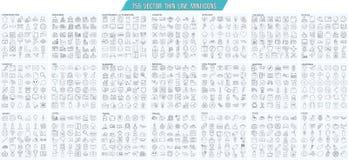 Vector a linha fina mini, ícones simples ajustados, pixel do esboço da grade 25x25px perfeito Curso editável ilustração stock