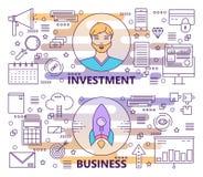 Vector a linha fina moderna investimento e as bandeiras do negócio ilustração do vetor