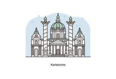Vector a linha ilustração de St Charles Church de Karlskirche, Viena, Áustria Foto de Stock