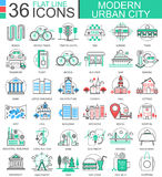 Vector a linha lisa ícones da cor moderna da cidade do esboço para apps e design web Elementos urbanos da cidade Imagens de Stock Royalty Free