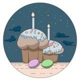 Vector a linha logotipo do estilo com presente e ovos da páscoa Foto de Stock