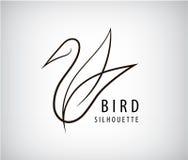 Vector a linha logotipo do pássaro, silhueta do pombo, logotipo abstrato de voo, ícone Imagens de Stock
