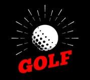 Vector a linha tirada arte do vintage da mão de cópia do burtst do sol do ícone do logotipo da bola do esporte do golfe ilustração stock