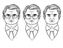 Vector Linie Kunstartillustration eines ernsten Gesichtes des erwachsenen Mannes Lizenzfreies Stockbild