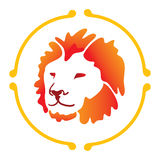 Vector lion. Logo in orange color Royalty Free Stock Images