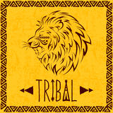 Vector lion. Vector hand drawn lion in the style of boho or hippy. Tribal elements Stock Photos