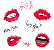 Vector lips stickers. Fashion glamour pink sexy lips labels. Beautiful set with oh la la tag, kiss me quote, xoxo text. Love you sign. Woman mouth trexndy Stock Images