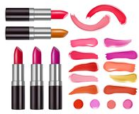 Vector lipstick packaging design and lipstick smear samples. Realistic 3D illustration isolated on white background Stock Images