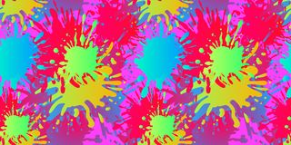 Vector Liquid Shapes Seamless Pattern, Paint Splatters, Fluid Background, Bright Colors. royalty free illustration