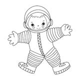 Vector Litte Astronaut. Vector black and white little happy astronaut Stock Images