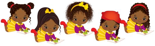 Vector cute Little African American Artists Painting. Vector Little African American Girls stock illustration