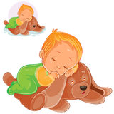 Vector little baby asleep on a plush dog. Stock Photo