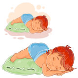 Vector little baby in a diaper lies a booty on the pillow and asleep Royalty Free Stock Photography