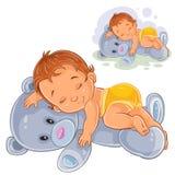 Vector little baby in a nappy asleep, dozing on a teddy bear. Vector illustration of a little baby in a nappy asleep, dozing on a teddy bear. Print stock illustration