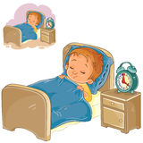 Vector little baby sleeping in his bed Royalty Free Stock Photo