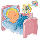 Vector little baby sleeping in his bed Royalty Free Stock Photos