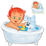 Vector little baby taking a bath and playing rubber ducks together with his dog stock illustration