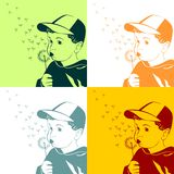 Vector Little boy blowing on a dandelion Royalty Free Stock Image