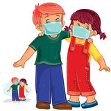 Vector little boy and girl in medical masks, protection from grip and cold Stock Photography