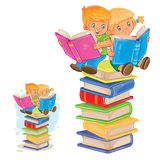 Vector little boy and girl sitting on a pile of books and reading. Royalty Free Stock Photo