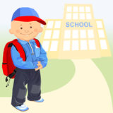 vector little boy goes to school Stock Photo