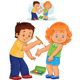Vector little boy paints a paint on a little girl skin rash Stock Photo