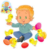 Vector little boy playing with decorated Easter eggs and yellow chickens. Stock Photos