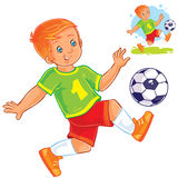 Vector little boy playing soccer. Stock Photo