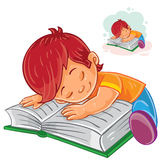 Vector little boy reading a book and falling asleep on it. Royalty Free Stock Photography