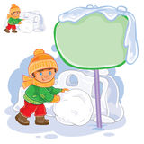 Vector little boy rolling a snowball and building a snow fortress Stock Photos