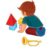 Vector little boy sitting on the floor and playing with baby cubes royalty free illustration