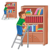 Vector little boy standing on the ladders and stacking books in a bookcase. Vector illustration of a little boy standing on the ladders and stacking books in a Royalty Free Stock Photos