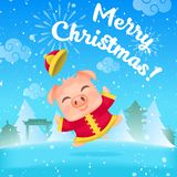 Vector little cartoon pig picture royalty free illustration