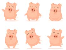 Vector little cartoon pigs characters posing in different situations. stock illustration