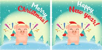 Vector little cartoon pigs characters vector illustration