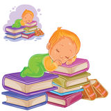 Vector little child in sliders playing with a pile of books and falling asleep on them. Royalty Free Stock Photography