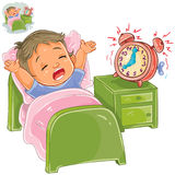 Vector little child woke up in the morning Stock Photography