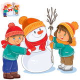 Vector little girl and boy making a snowman Stock Image