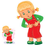 Vector little girl clings to her stomach Stock Image