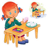 Vector little girl coloring Easter eggs with colorful paints. Royalty Free Stock Photos