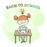 Vector little girl educational poster. Back to school illustration Royalty Free Stock Photo