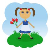 Little girl with flowers Royalty Free Stock Photos