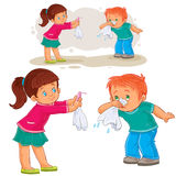 Vector little girl giving a handkerchief to a boy sick with snot, allergy. Vector illustration of a little girl giving a handkerchief to a boy sick with snot Stock Photography