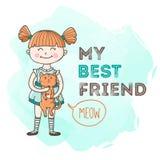 Vector little girl holding the cat illustration. vector illustration