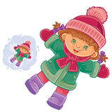 Vector little girl lying on the snow and making a snow angel. Royalty Free Stock Photography