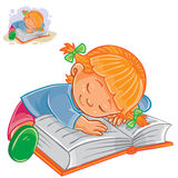 Vector little girl reading a book and falling asleep on it. Royalty Free Stock Photos