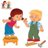 Vector little girl sympathizes with a little boy who struck a finger with a hammer Royalty Free Stock Photos