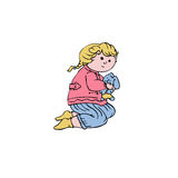 Vector little girl with a toy Stock Images
