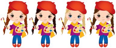 Vector Little Girls with Palette and Paint Brushes. Vector Little Artists. Vector little girls with palettes and paint brushes. Vector cute little girls with Royalty Free Stock Image