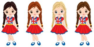 Vector Little Girls Wearing Shirts with British Flag Print. Vector tourists wearing shirts with British flag print. Vector cute little girls with various hair Stock Photo